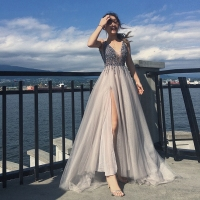 Sexy Prom Dress V Neck Beading A Line Prom Long Elegant Dresses
