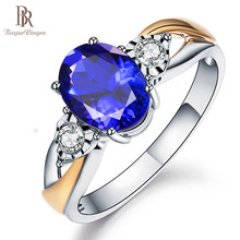 Bague avec Bague créée en saphir, argent 925 Sterling, Bague pour femmes, fête de fiançailles, mariage, cadeau