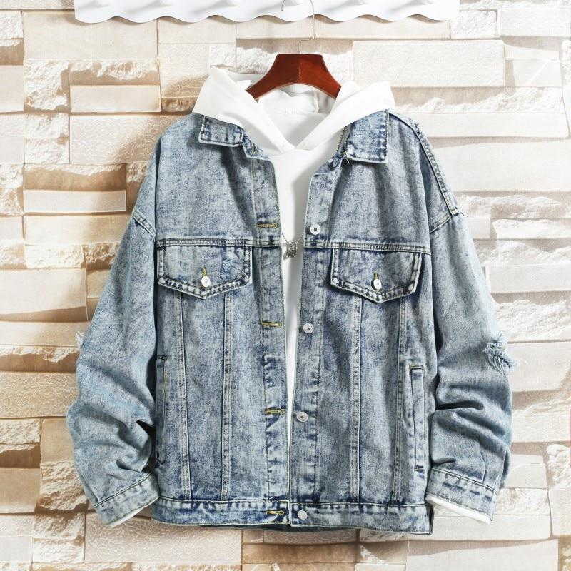 Hip Hop Young Man Denim Jackets Loose Patchwork Men Casual Coats Club High Street Male Amazing Quality Chaqueta Hombre