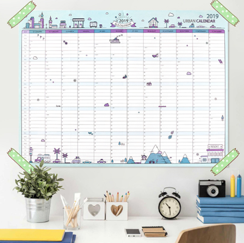 2019 365days Paper Wall Calendar Office School Daily Planner Notes Large Study New Year Plan Schedule 43*58cm