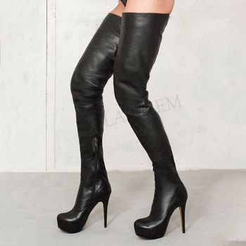 LAIGZEM SUPER Thigh High Women's Boots Party Club Stage Over Knee Stiletto Shoes Woman Side Zip Botines Laigzem Large Size 34-52 laigzem women over the knee boots faux leather waterproof back long zipper sexy ladies shoes womam botines mujer big size 4 19