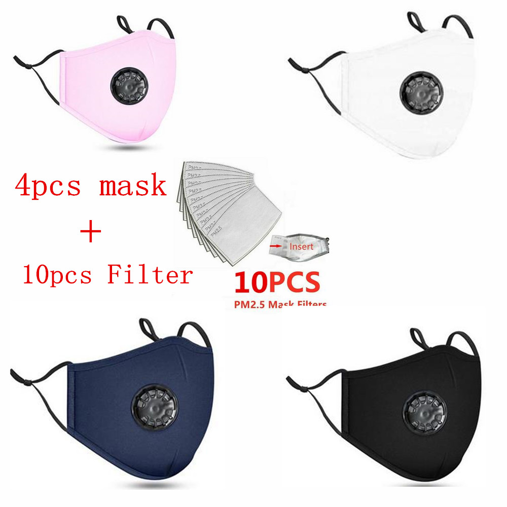 (Ship Within 12 Hours)4pcs Mask+20 PCS Filter Mask Mouth Respirator Washable Reusable Masks Pink Mask Cotton Drop Shipping