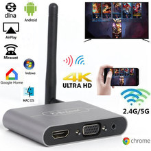 Mirascreen x6w plus 2.4g 5g 4k adaptador vga sem fio vara miracast airplayer hdmi-compatível wi-fi dongle para o telefone android à tv