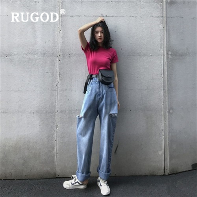 RUGOD New Spring Summer Slim Woman Jeans Pants High Waist Hole Wide Leg Pants Fashion Casual Female Denim Pants Plus Size