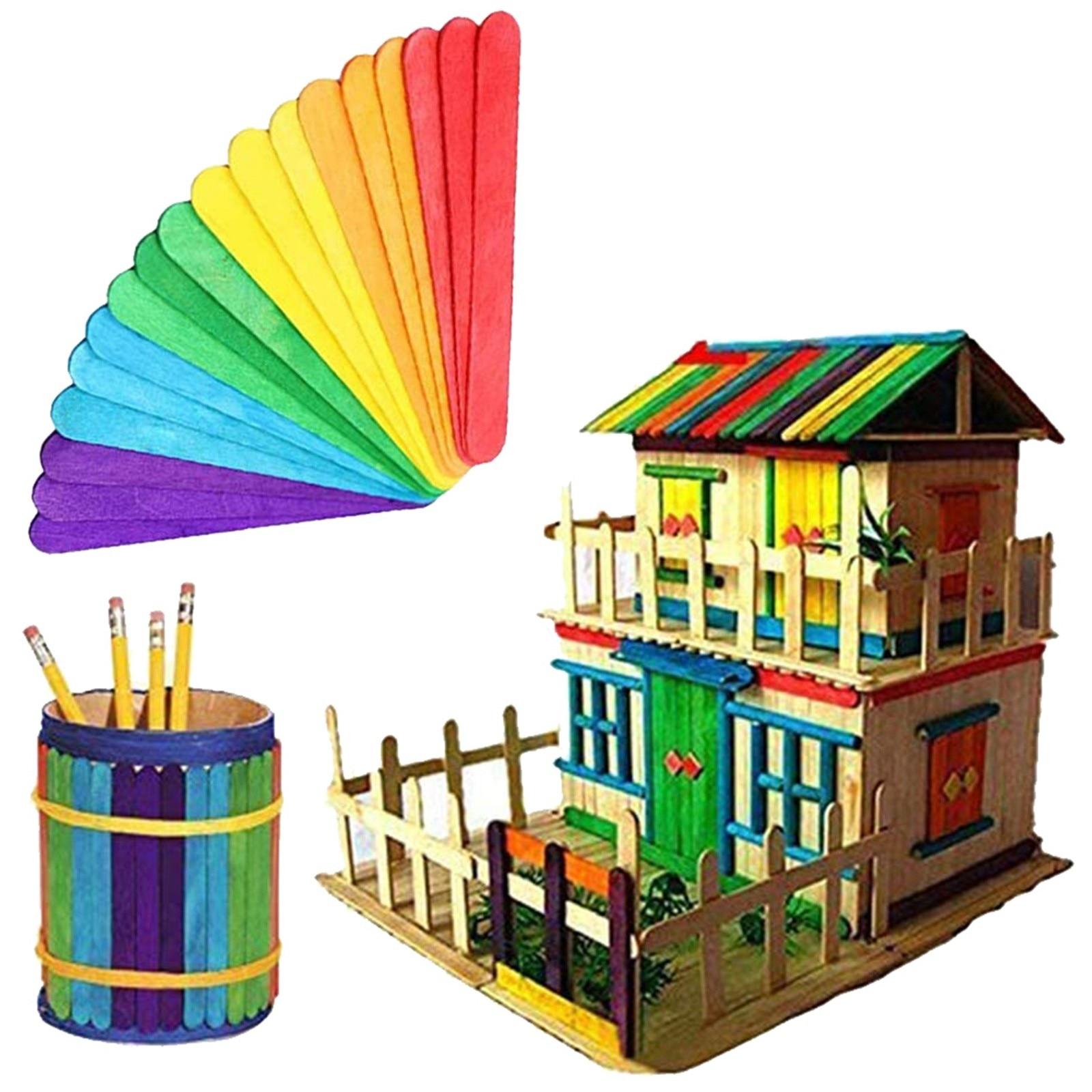 Colorful Popsicle Sticks For crafts Large Color Craft Sticks 100 Sticks
