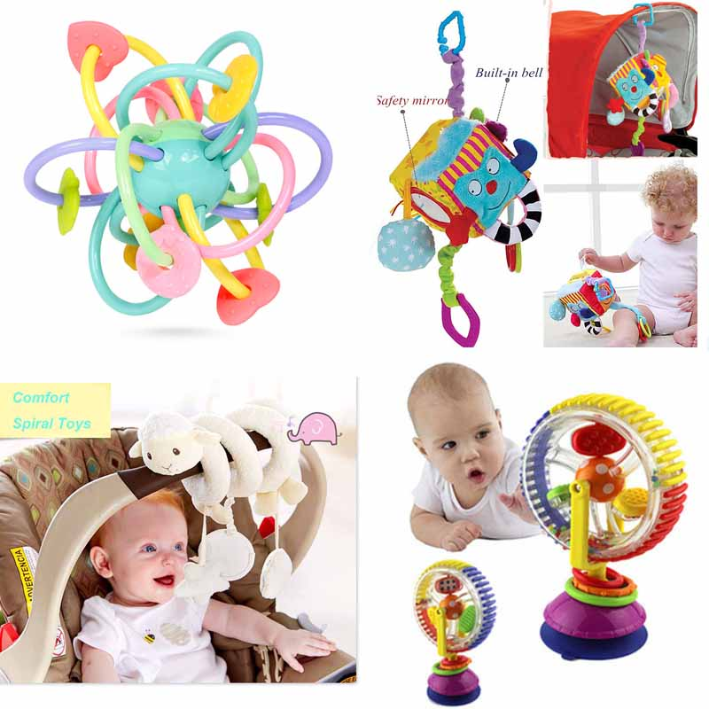 Toy For Stroller Musical Crib Stroller Hanging Spiral Teether Baby Rattle Toys Graphic Cognition Sensory Toys For 0-12 Months