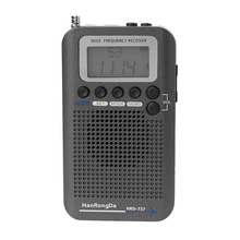 New HRD-737 Digital LCD Display Full Band Radio Portable FM/AM/SW/CB/Air/VHF World Band Stereo Receiver Radio with Alarm Clock tecsun green 88 green88 fm am sw full band economical environmental emergency radio with light dynamo hand cranking rechargeable