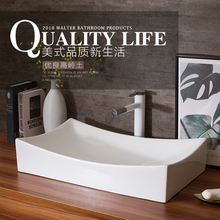 Blanco hecho a mano Rectangular estilo antiguo, europeo de cerámica de baño encimera de lavabo de baño pintado a mano fregadero de cerámica