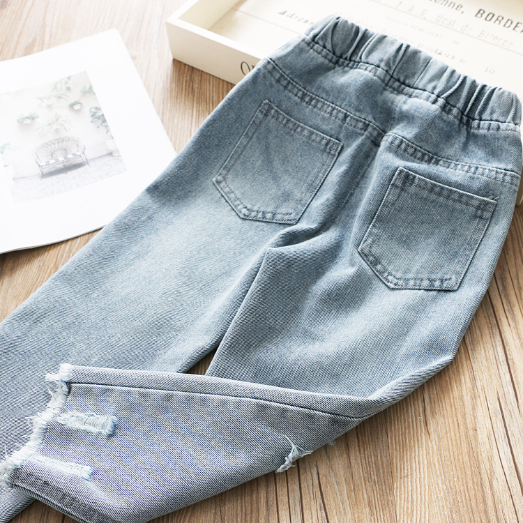 Image 3 - Boys and Girls Jeans 2020 Spring Hole Leisure PantsJeans