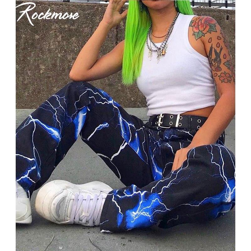 Rockmore Lightning Print Cargo   Pants   Women Joggers Streetwear Harajuku Blue Trousers High Waist   Wide     Leg     Pants   Femme Plus Size
