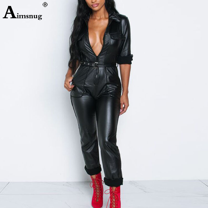 Women Fashion High Waist PU Leather Jumpsuits Lace-up Skinny Bodysuits Girls Zipper Faux Leather Spring Winter Sexy Overalls