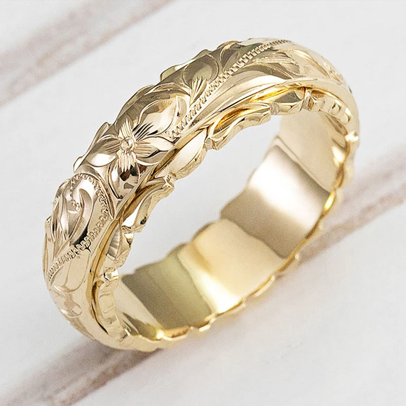 Huitan Elegant Craved Flower Pattern Women Band Ring 3 Metal Colors Available Fine Wedding Bridal Rings Classic Timeless Jewelry