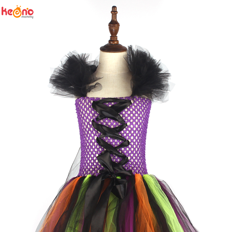 Girls Halloween Witch Tutu Dress Rainbow Trailing Tulle Kids Carnival Cosplay Party Dress Children Fancy Ball Gown Dress Costume 6