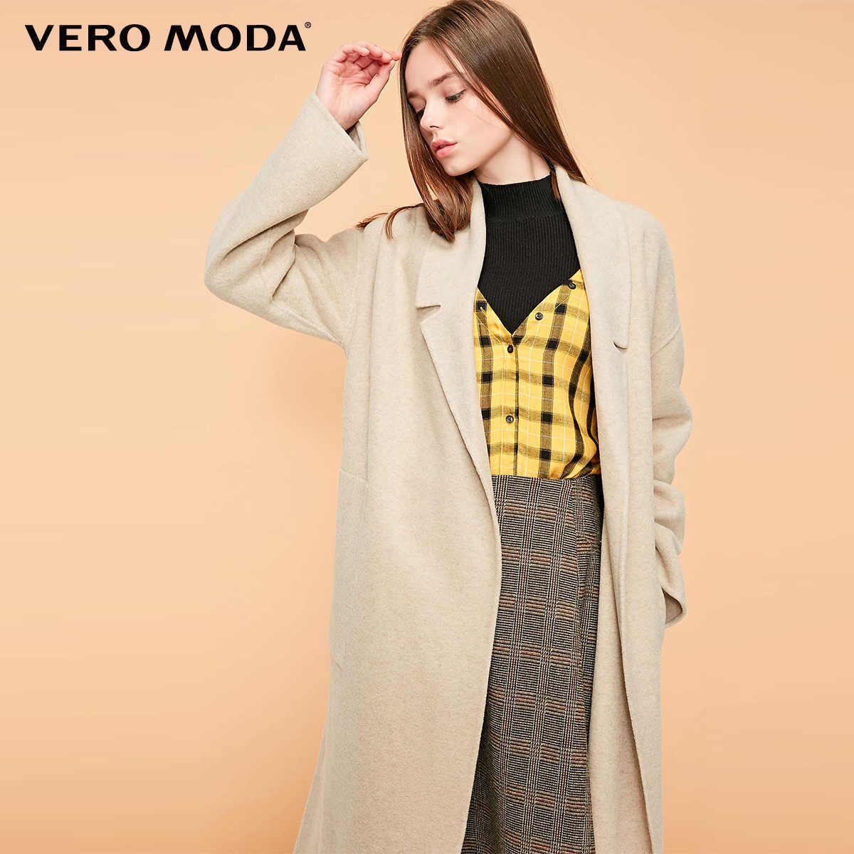 معطف نسائي جديد من Vero Moda بجيب وحمالات بطية صدر رفيعة معطف صوفي | 318327531