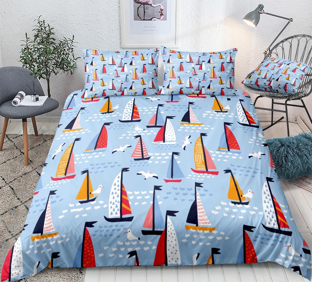 Sailing Yachts Duvet Cover Set Cute Seagulls Bedding Light Blue Quilt Cover Set For Teens Summer Bright Bedclothes Drop Ship