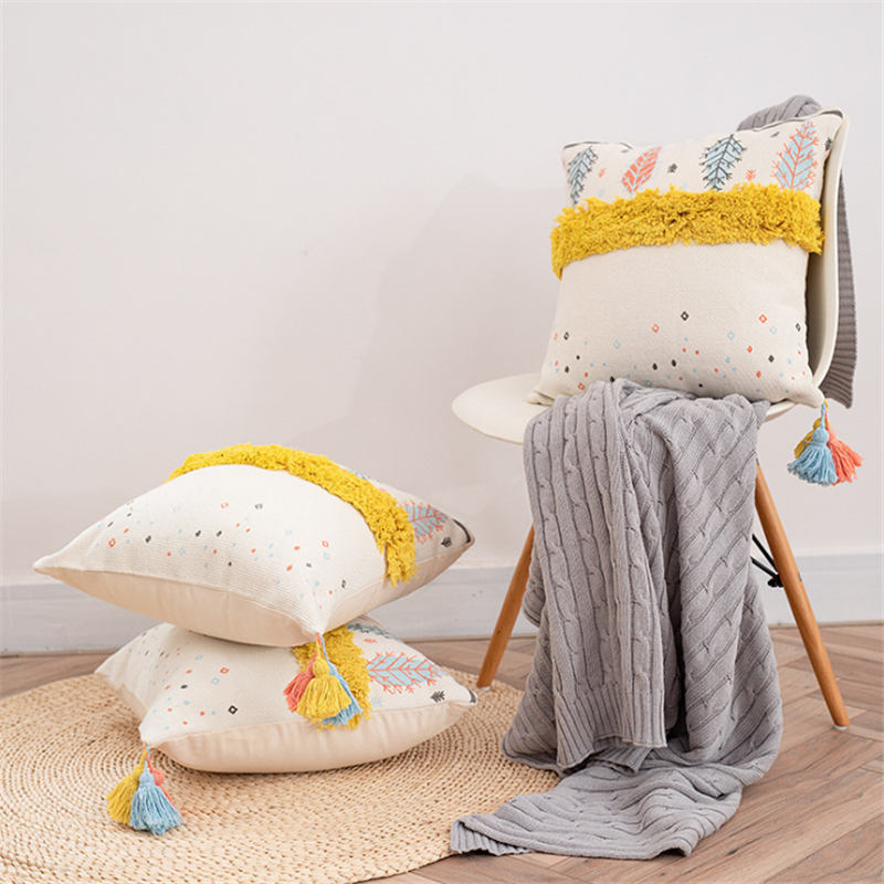 Puredown Tufted Pillowcase Tassel Pom Pom Tufted Pillowcase Cushion Pillow