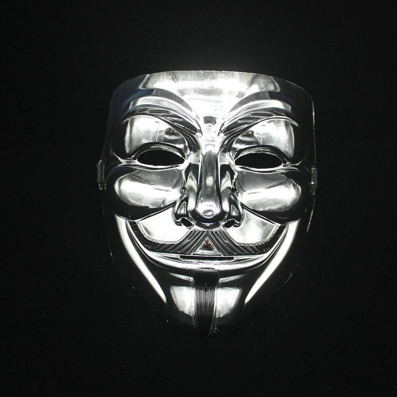 Используется для маскарада вечерние карнавалов Хэллоуин костюм вечерние марта протеста Горячая V Маска Вендетта золото/серебро - Цвет: silver color
