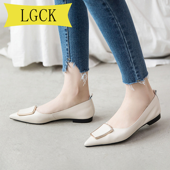 Plus Size 34-43 Women Flat Shoes Genuine Leather Luxury Fashion Lady Shoes Woman Casual Shoes Pointed Toe Slip-on Women's Loafer