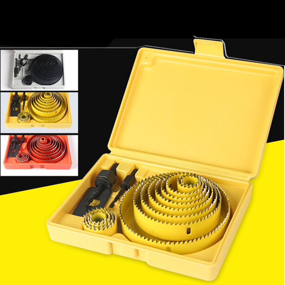 Carbon Steel Hole Saws Drill Bit Wood Sheet Metal Cutting Tool Kit With Box For Carpentry Home Garden Supplies