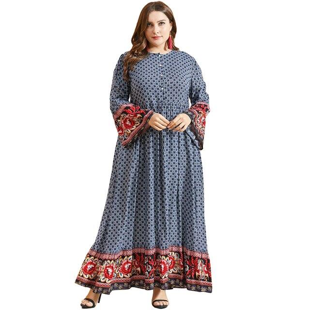 נשים אתני הדפסת אבוקה שרוול מוסלמי שמלה גבוהה מותן כפתור גדול Hem הרמדאן ערבית שמלת Vestidos בתוספת גודל M   3XL 4XL