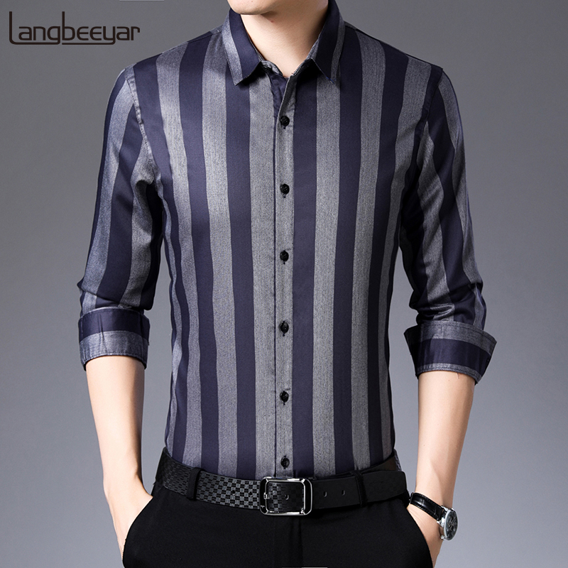 2020 Fall New Fashion Brand Designer Shirt Men Luxury Striped Long Sleeve Slim Fit Streetwear Dress Shirts Korean Casual Clothes