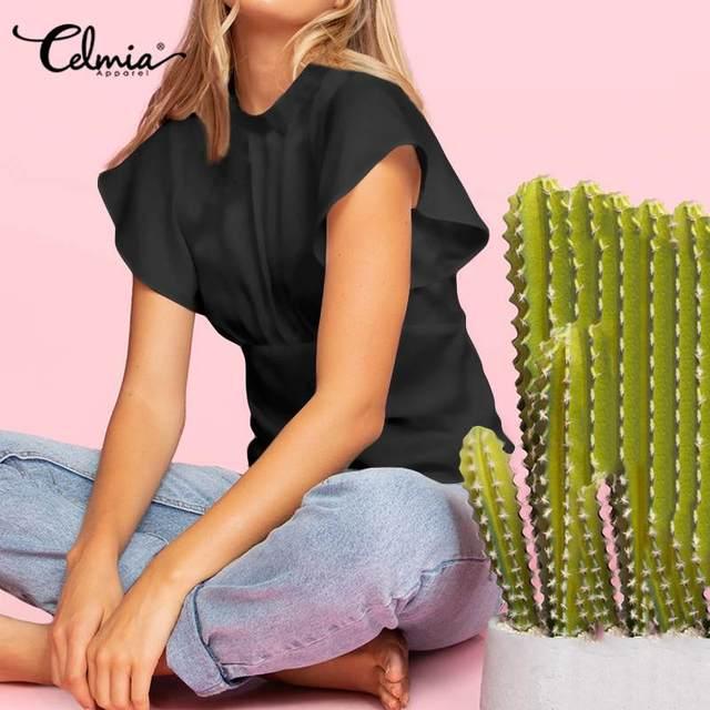 2020 Summer Celmia Women Solid Blouses Casual Short Ruffles Sleeve OL Tops Ladies Elegant Shirt Plus Size Back Zipper Blusas 5XL 3