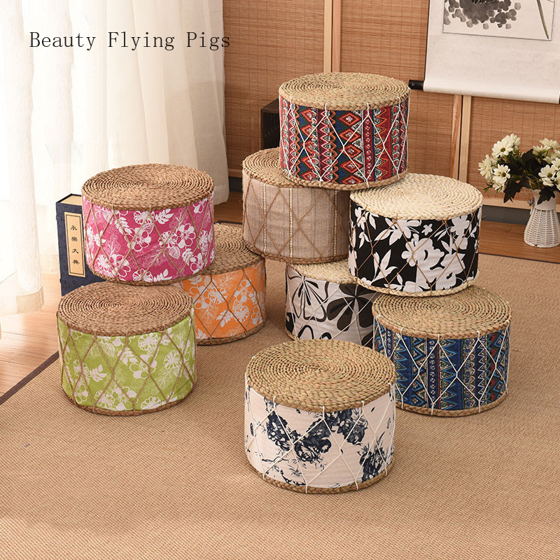 Ethnic Wind Straw Flower Cushion Thickening Futon Tatami Woven Yoga Mat Round Dazed Meditation Pad Living Room Bay Window Home