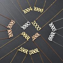 1987 a 2000 número data de nascimento colar de aço inoxidável número do ano colares para mulheres casal jóias feitas sob encomenda