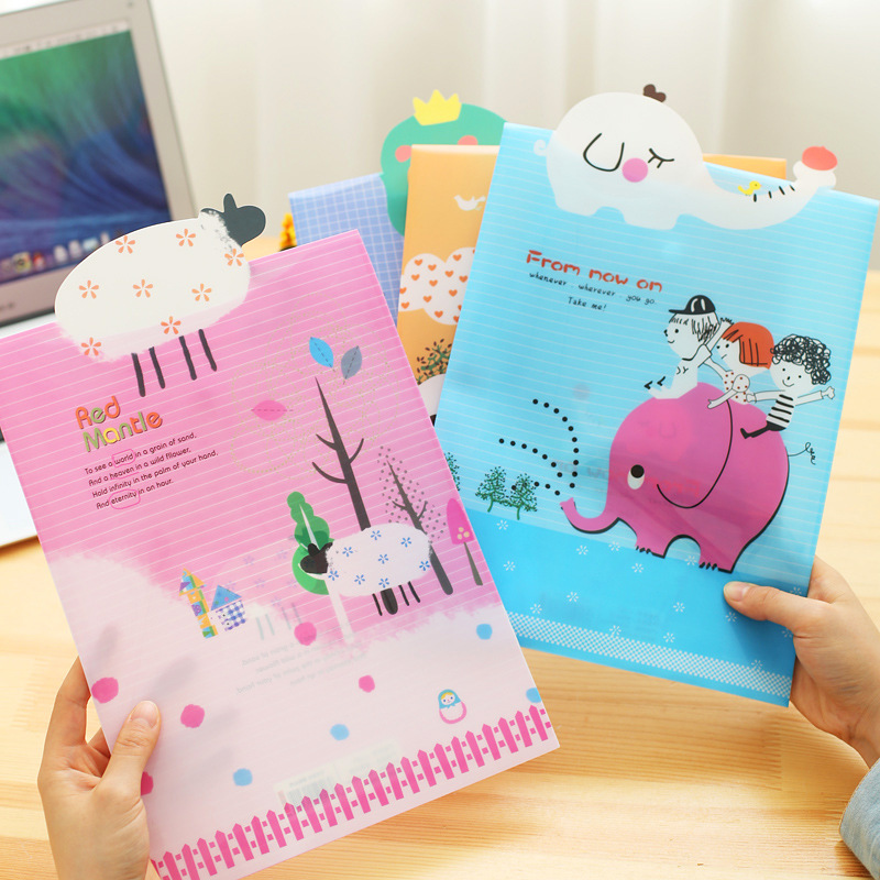 Animal Cover Cartoon File Bag A4 File Information Bag File Cover Student Stationary School Office Supply