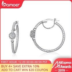 Bamoer nova chegada cor de prata hyperbole grande círculo redondo claro cz zircão cúbico brincos para jóias femininas yie137