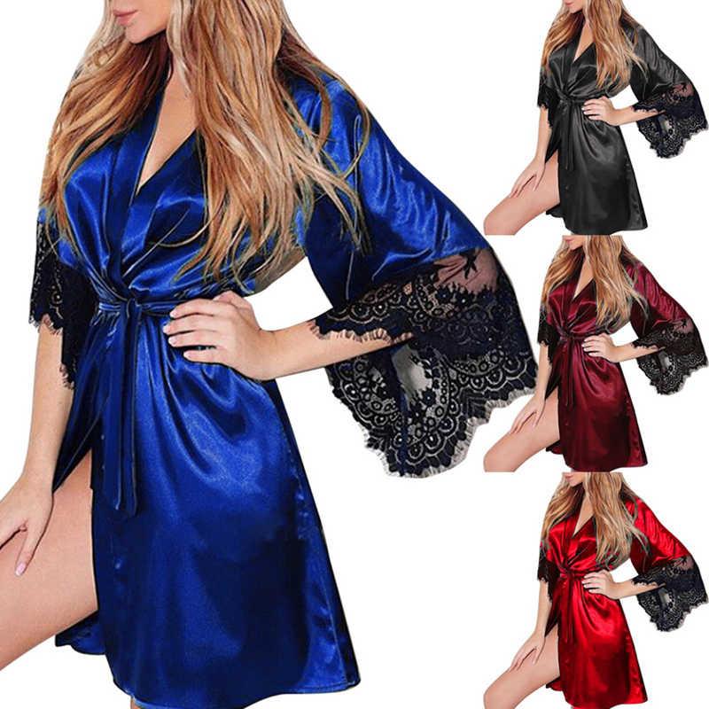 2020 חדש בתוספת גודל נשים הלילה ללבוש חלוק נשים מזדמן שקוף קימונו אינטימי הלבשת מעיל אופנה תחרה טלאי גלימה 3XL