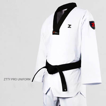 ZTTY Professional Taekwondo Dobok Cotton White Karate Uniform WTF Belt Red Black V-Neck Judo Equipment For Kids Adult sauna suit taishan wtf poomsae dan dobok male female taekwondo suits authentic designated taishan tkd poomsae fabrics uniforms have dan