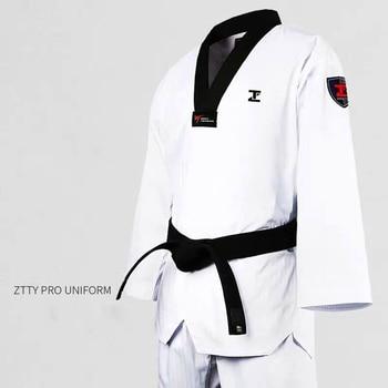 ZTTY-uniforme profesional de Taekwondo Dobok para Karate, algodón, blanco, cinturón WTF, rojo, negro, cuello en V, equipo de Judo para niños, traje de sauna para adultos