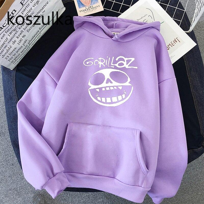 Gorillaz Skull  Funny Print Hoodie Kpop Korean Style Loose Sweatshirt Korean Fashion Hip Hop All-match Leisure Harajuku Hoodie 7