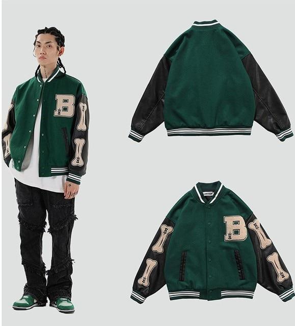 Hip Hop Furry Bone Patchwork Color Block College Jackets Mens Harajuku Casual Bomber Varsity Jacket Women Baseball Coats Unisex 4
