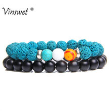 Group Bracelet For Couples Natural Blue Lava Beads Bracelet Women Yoga Balance Jewelry Homme Femme Friendship Bracelets Gifts(China)