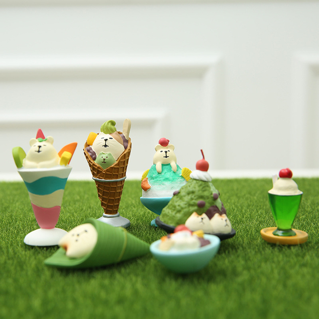 Japanese Food Simulation Ice Cream Miniature Mini Animal Cute Bear Family Collectible Gift Home Decoration Accessories Food Toy 2
