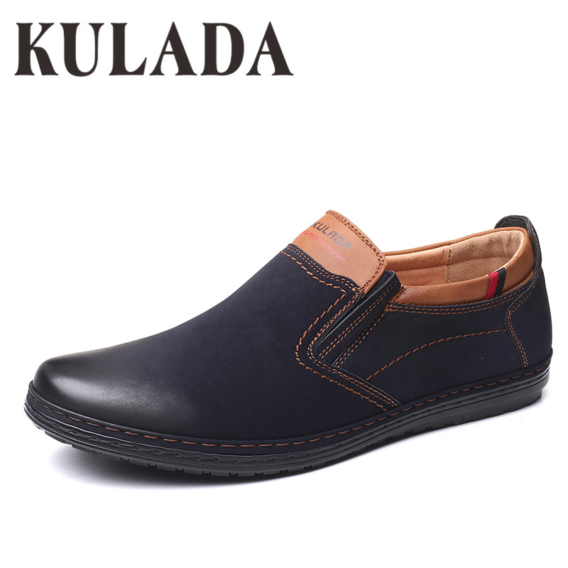 KULADA 2019 Shoes Men Shoes Larger Size Shoes Soft Fashion Walking Leather Comfortable Men Casual Shoes