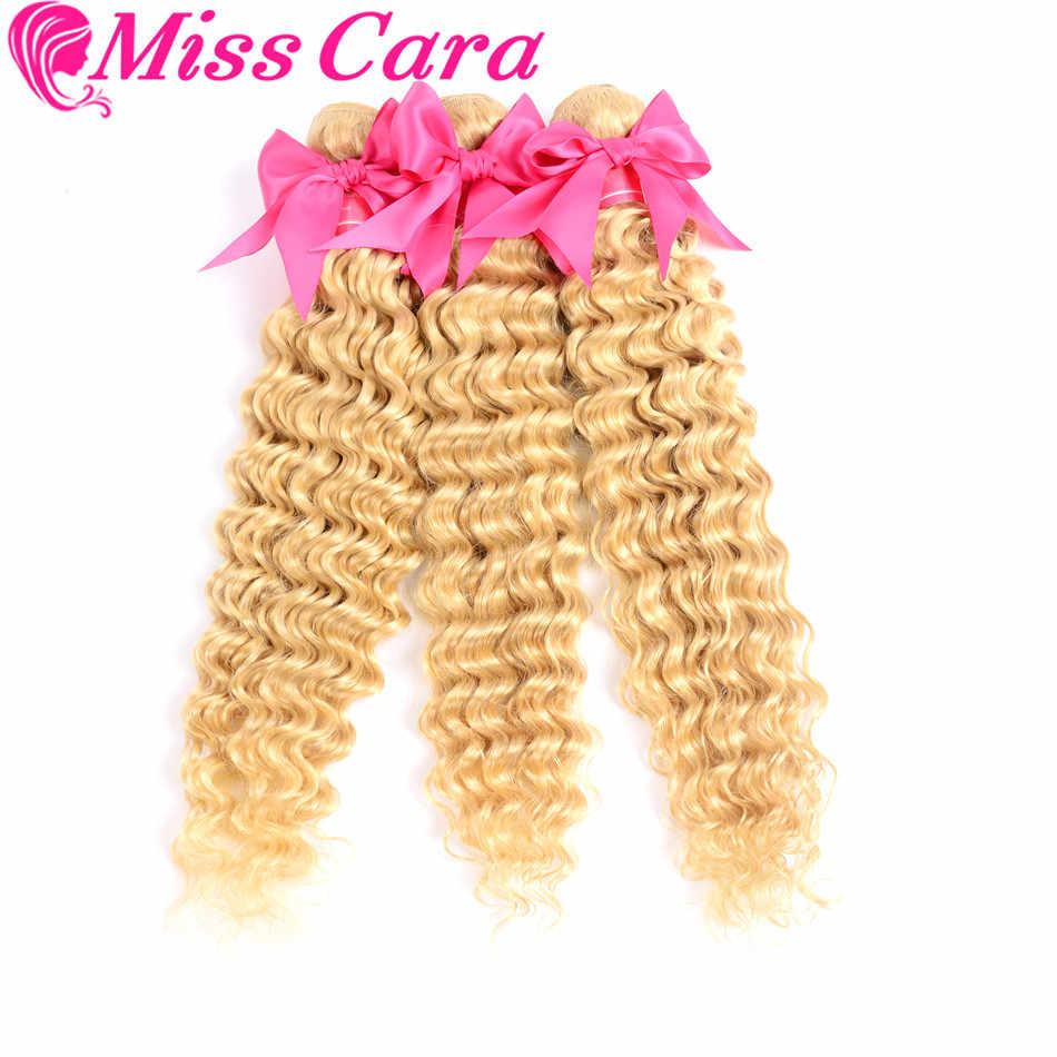 Señorita Cara Remy cabello 613 # Paquetes de onda profunda con Frontal Pre desplumado miel rubia pelo peruano tejido 3 paquetes con Frontal