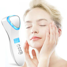 Ultrasonic Cryotherapy LED Hot Cold Hammer Facial Lifting Vibration Massager Face Body SPA Beauty Salon Machine(China)