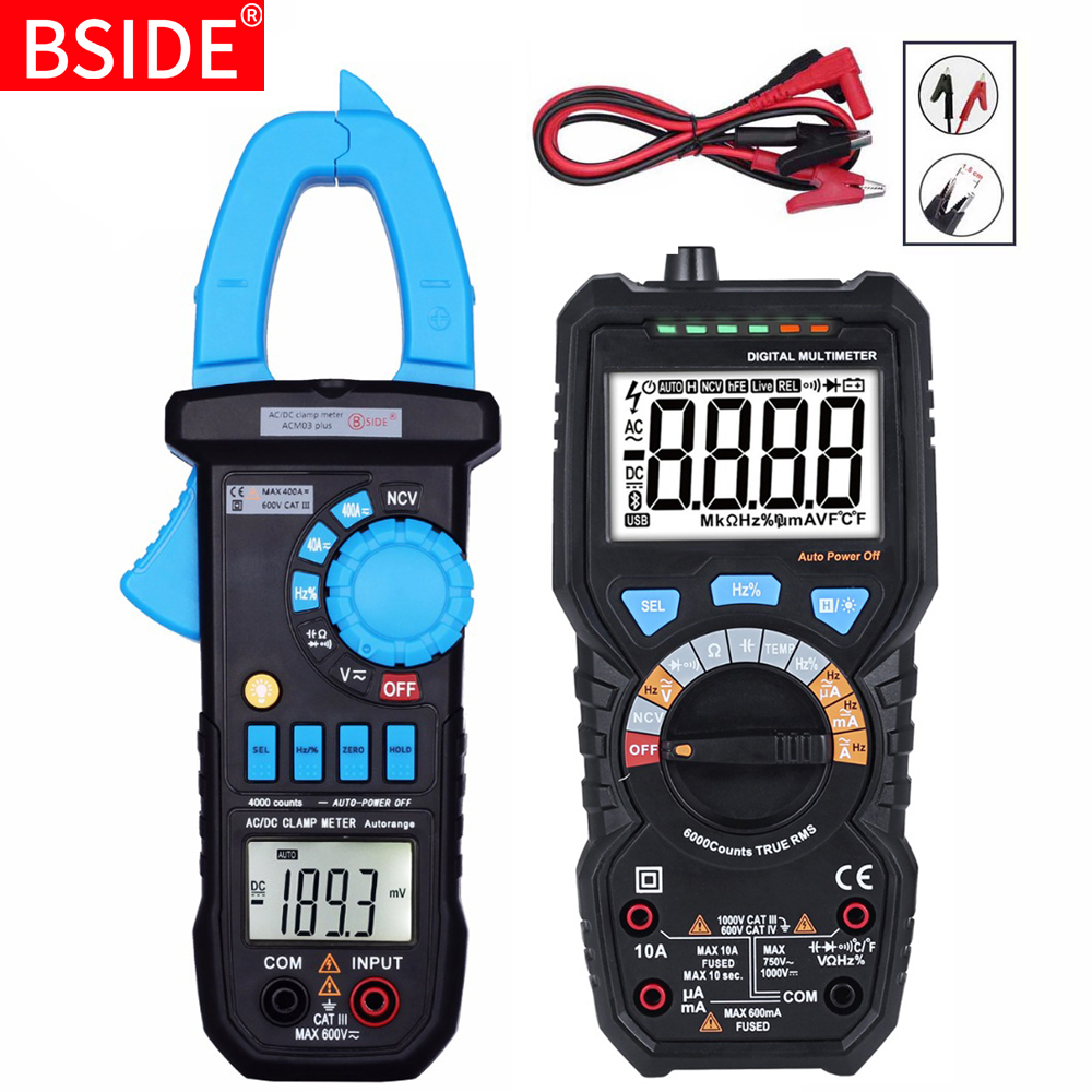 BSIDE Digital Clamp Meter DC AC Current 400A Ammeter Voltage Tester Multimeter Car Voltmeter Ampere Hz Capacitance NCV Ohm Test