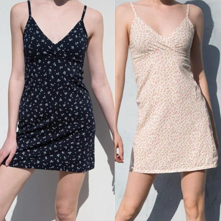 Flower Print Dress Women Sexy V Neck Spaghetti Strap Vestidos Summer 2020 Elegant Slim Waist Female Brandy Melville Dresses