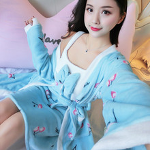 Winter New Female Kimono Gown Sexy 2PCS Robe Set With Bow Lougne Floral Nightgown Sleepwear Casual Nightdress Mini Home Wear