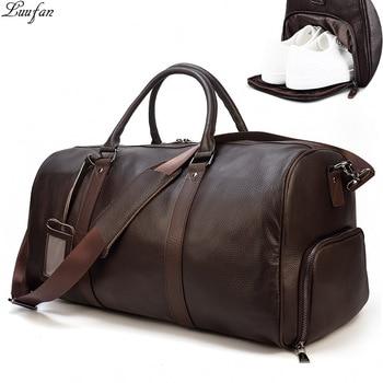 Big Capacity Genuine Leather Travel Bags Men Women Soft Black Cowhide Casual Duffel large luggage Weekend shoulder bag - discount item  35% OFF Travel Bags