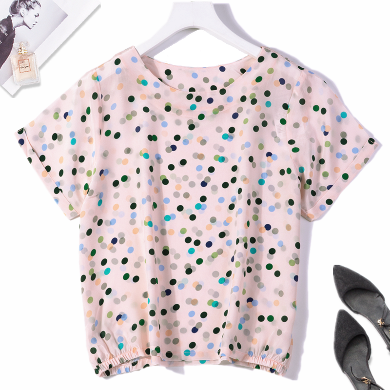 Women's 100% Pure Silk Lovely Top Shirt Blouse Crew Neck Short Sleeves Pink Dots Size M L XL JN217