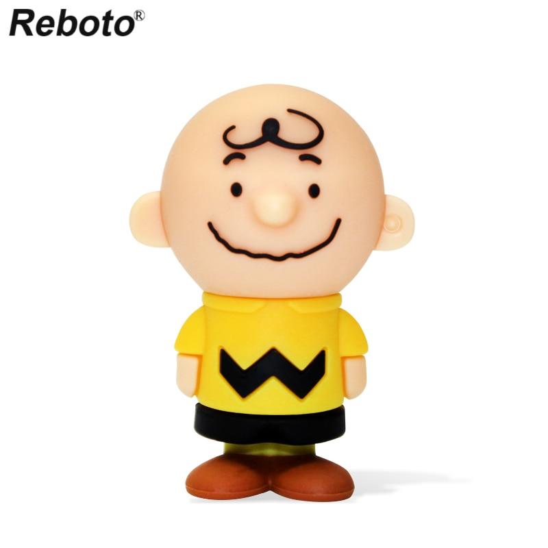 Cartoon USB Flash Drive 64GB 32GB 16GB 8GB Memory Stick Cute Boy Charlie Brown Anime Peanuts Mini Figure U Disk For PC