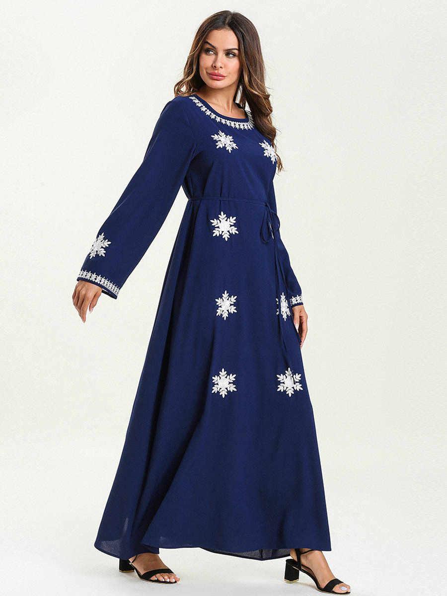 여성 이슬람 abaya 두바이 터키 방글라데시 이슬람 의류 플러스 사이즈 kaftan caftan 눈송이 자수 로브 붕대 롱 드레스