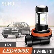 SUHU 2 adet H8 H9 H11 6000K beyaz 30W yüksek güç LED sis farları sürüş ampul çalışan otomatik sis kafa lambaları ampuller araba aksesuarları