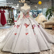 LS91289 luxury ball gown evening dress with color handworking flowers off shoulder sequined party train as photos