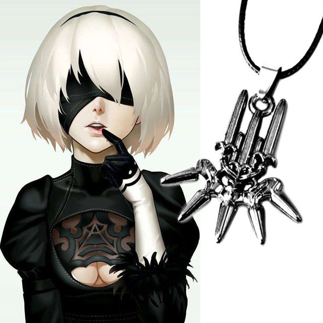 Game NieR Automata YoRHa Neckchain No.2 Type B 2B Metal Pendant Model Toy Necklace Chain Jewelry Cosplay Gift Collection Model